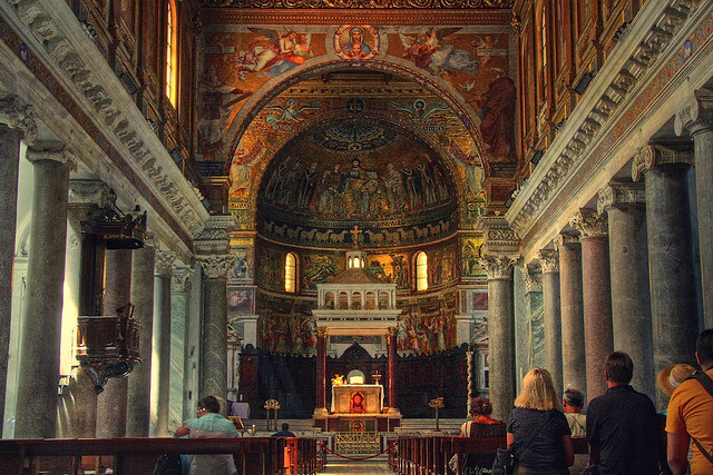 Interior of Basilica di Santa Maria, Trastevere. Taken by Michiel Jelijs via Flickr.