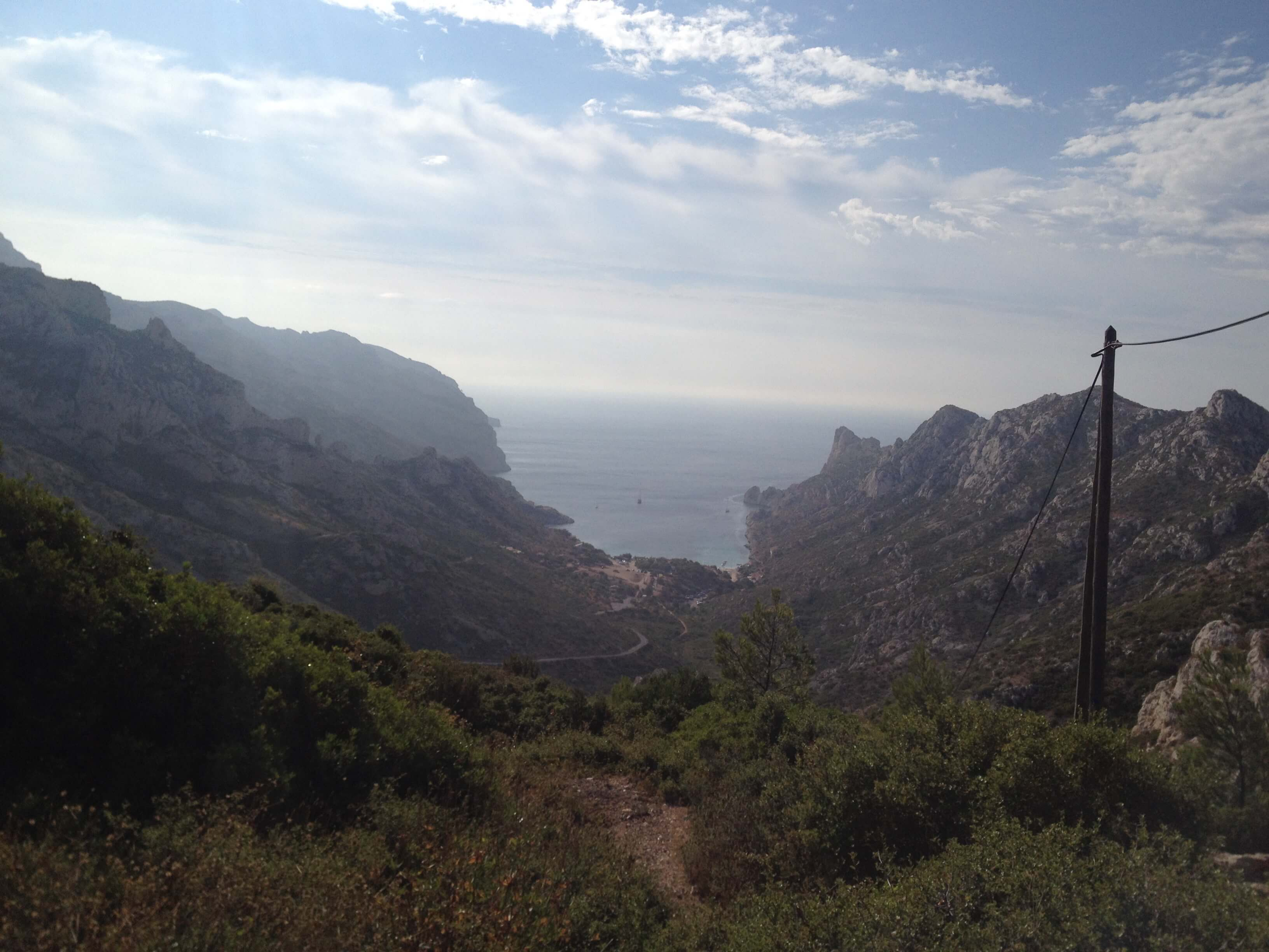 And on the other side... the view looking down the mountain that we had to hike to get to the water. Calanque de Sormiou is ahead of us...