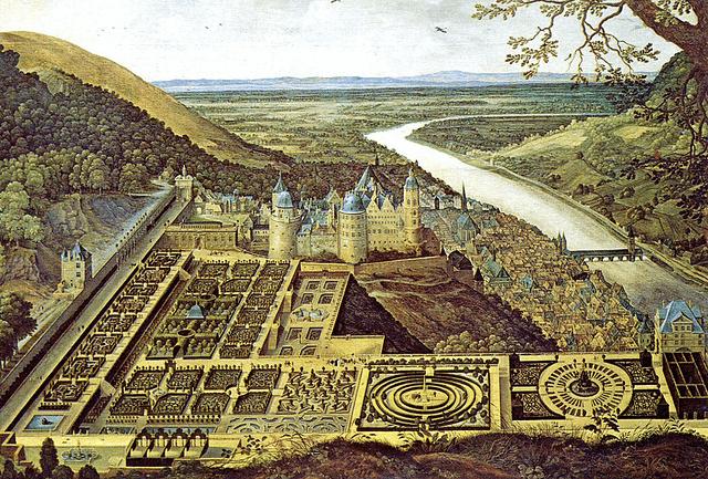"Painting of the Heidelberg Castle Gardens ""Hortus Palatinus"" in 1619. Taken by Roger W. via Flickr."