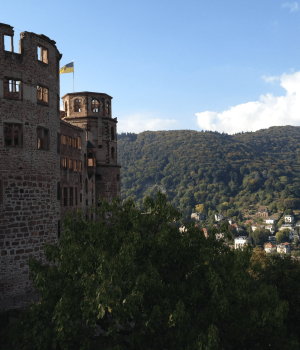 Heidelberg Castle with view of city below