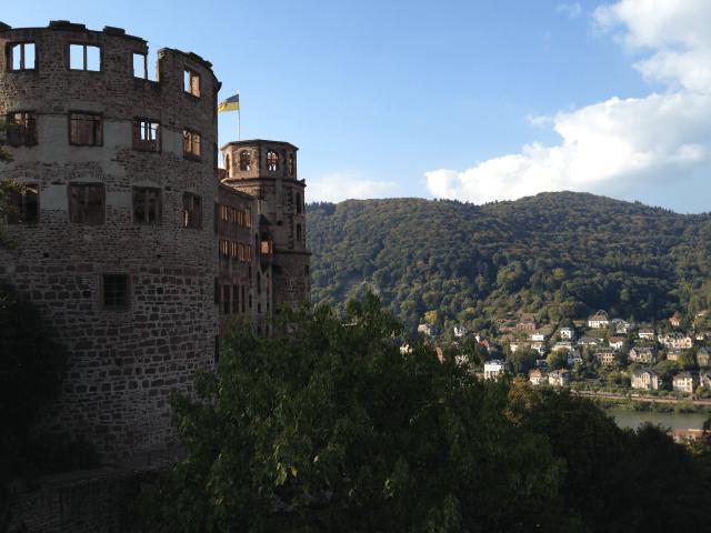 Heidelberg Castle with view of city below