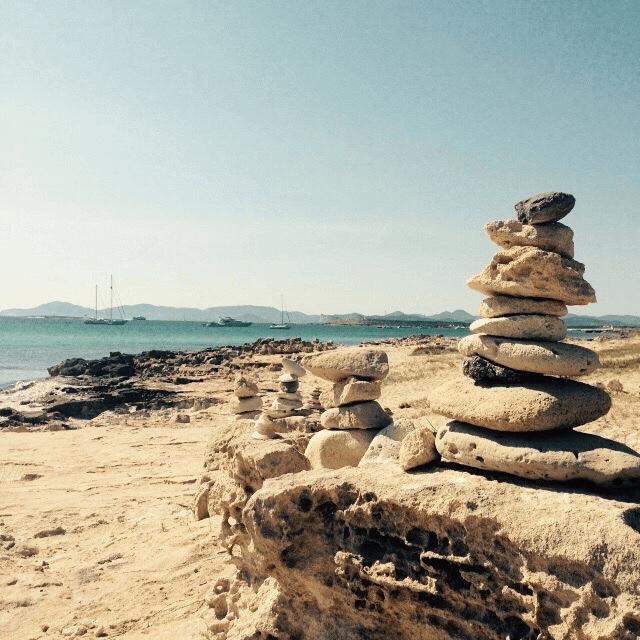 Rock stacks at Playa Illetes.