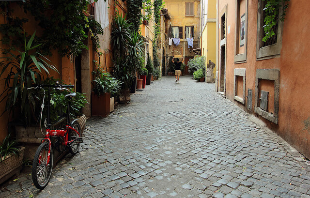Streets of Trastevere. Taken by Bruno via Flickr.