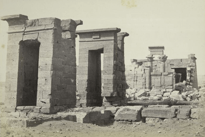 Temple of Debod before it was moved from Egypt, ca. 1862. Public domain.