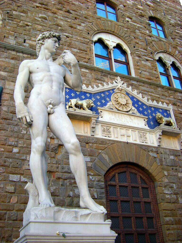 Replica of David in its original location at the Piazza della Signoria in Florence. Taken by Leandro Neumann Ciuffo via Flickr.