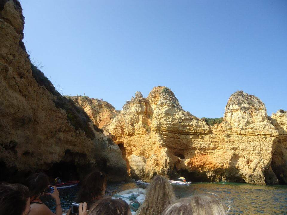 Cliffs in Lagos from boat, Lagos, Portugal