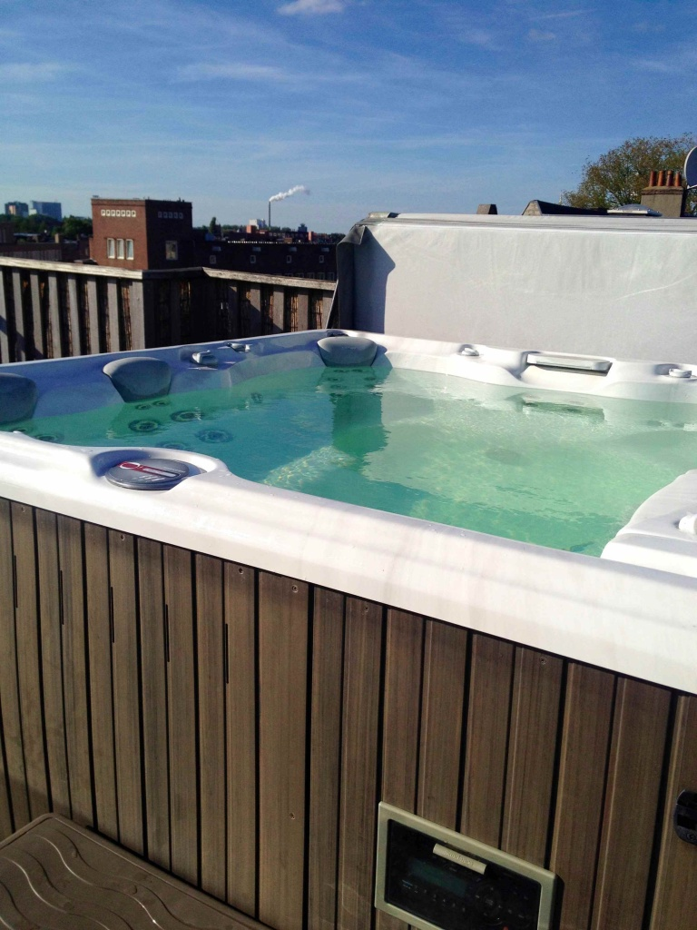 Our rooftop hot tub at the Airbnb in Amsterdam.