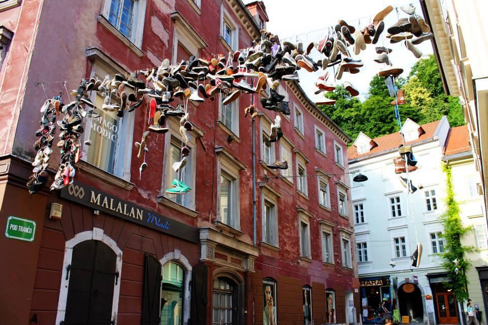 Shoes hanging in Ljubljana, Slovenia. Taken by Kirstie.