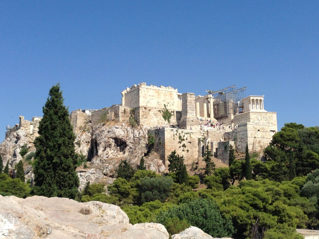 Walking up to the Acropolis.