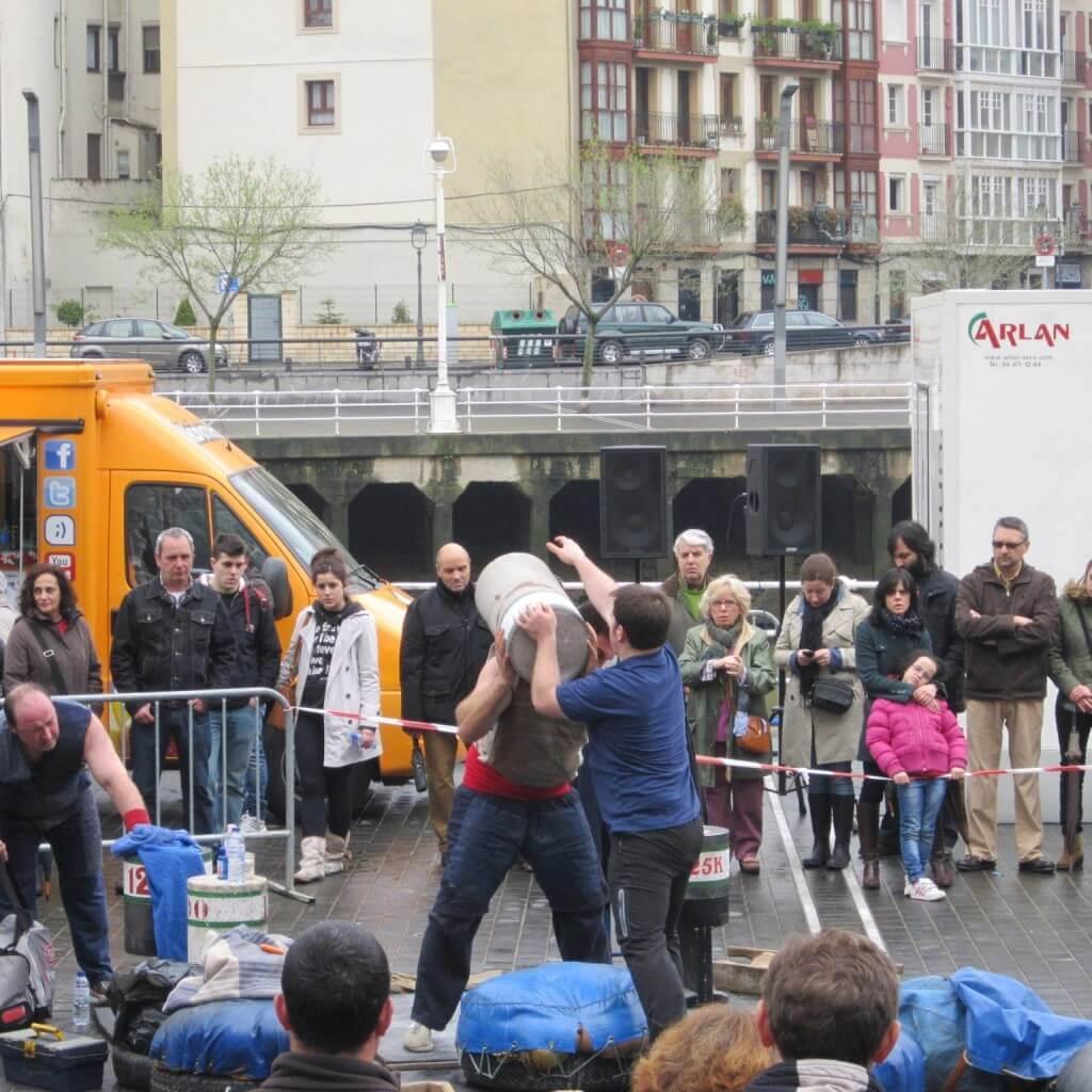 Traditional Basque sport, barrel lifting.