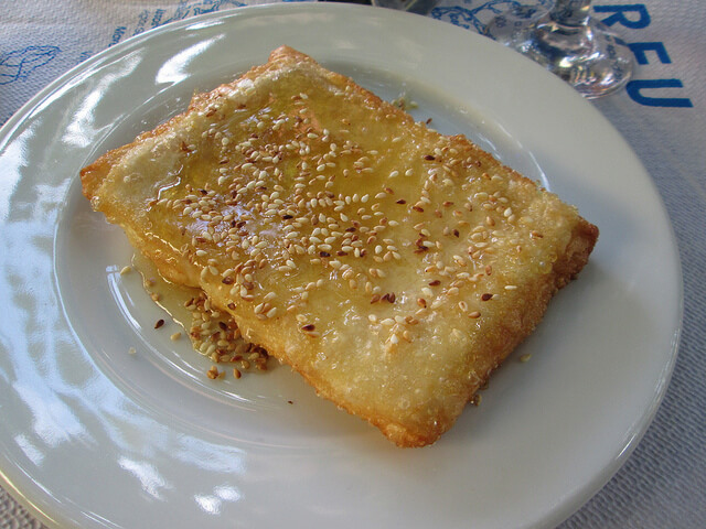 Feta with sesame seeds and honey. Taken by Rachel Bickley via Flickr.
