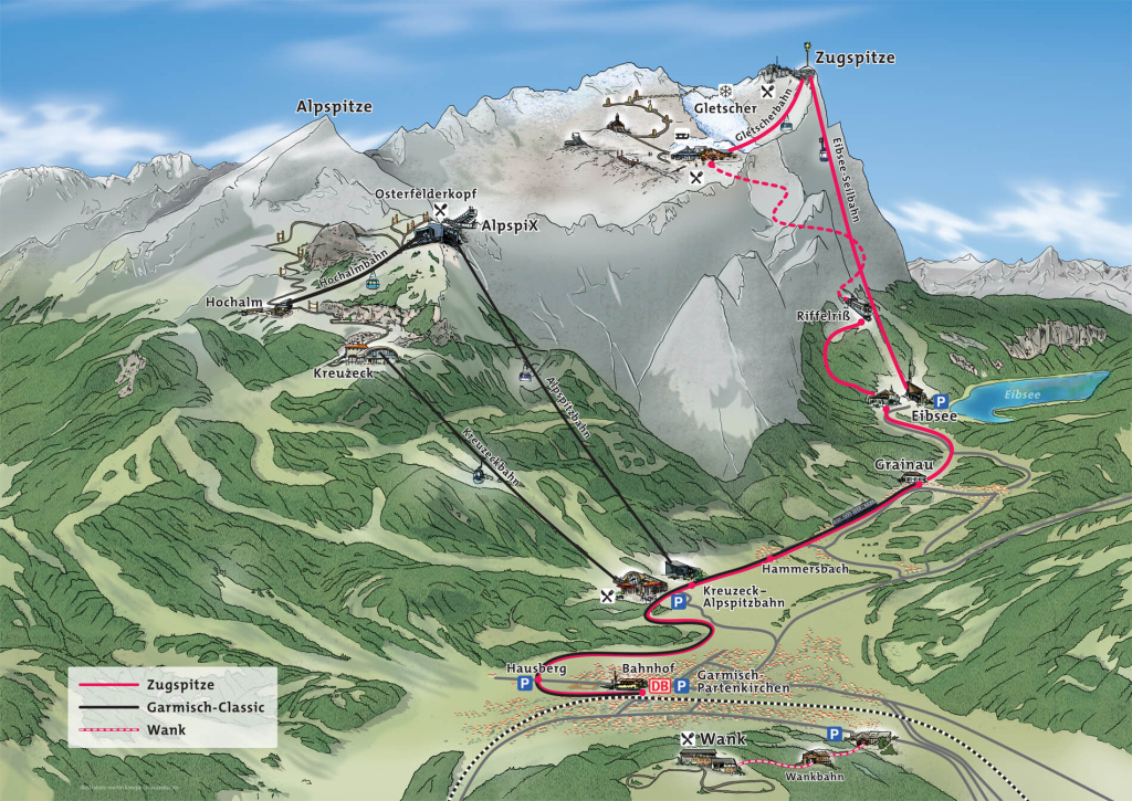 Map of Zugspitze, Garmisch-Classic and Mountain Wank routes offered by Zugspitze.de.