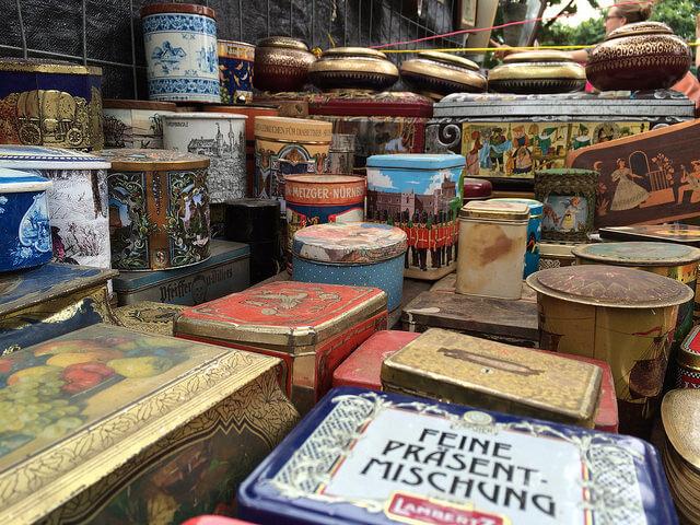 Vintage boxes at Mauerpark Flea Market. Taken by Su--May via Flickr.