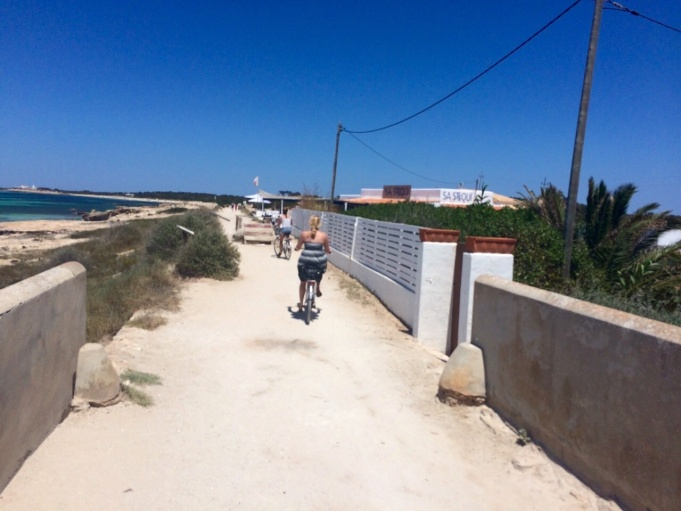 Biking out to the beach in Formentera.