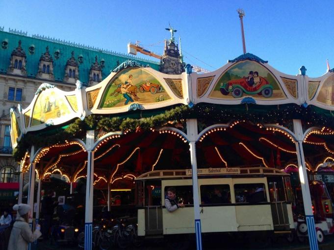 Carousel at Hamburg Rathaus Christmas Market.