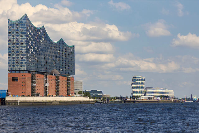 Elbphilharmonie with the Marco Polo Tower and Unilever building in the background. Taken by specialpaul via Flickr.