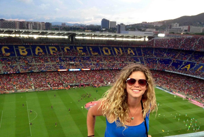 A friendly match at the FC Barcelona stadium last summer.