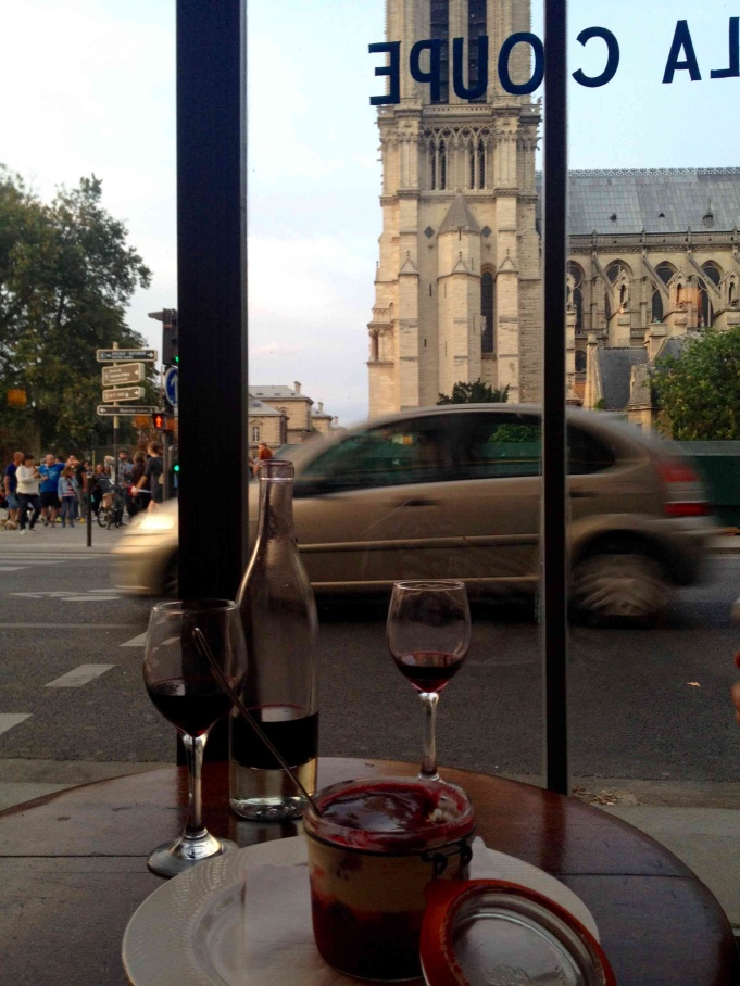 Red fruit Tiramisu and red wine with a view of the Notre-Dame in Paris: a.k.a. my reason for traveling.