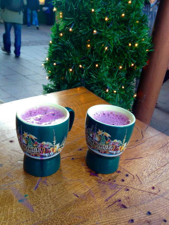 Glühwein at the Hamburg Rathaus Christmas Market.