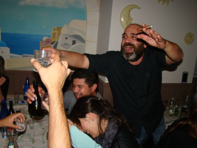 Our new Greek friend who was eager to take shots of Ouzo with us in Thessaloniki!