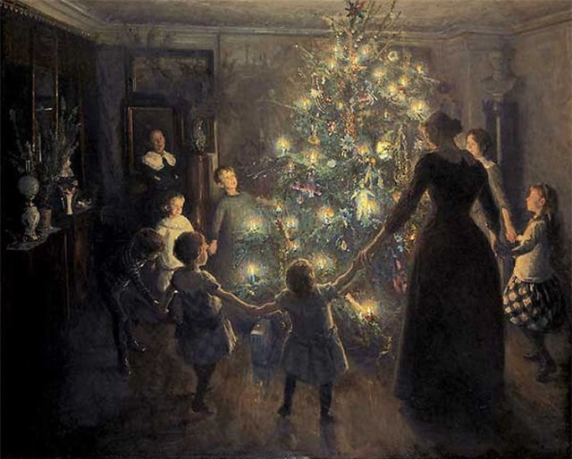 """Happy Christmas"". ""Johansen Viggo – Radosne Boże Narodzenie"" by Viggo Johansen – ""Glade Jul"", Den Hirschsprungske Samling. Licensed under Public Domain via Commons."