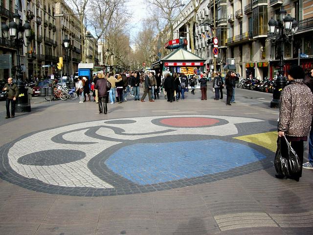 Miró mosaic along Las Ramblas. Taken by Yellow.Cat via Flickr.