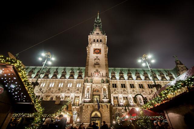 Rathaus at Hamburg Christmas Market. Taken by Jan Kraus via Flickr.