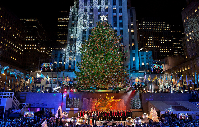 Lit tree at Rockefeller Center. Taken by Anthony Quintano via Flickr.