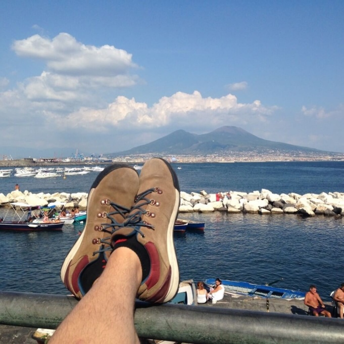 Relaxing with view of Mt. Vesuvius.